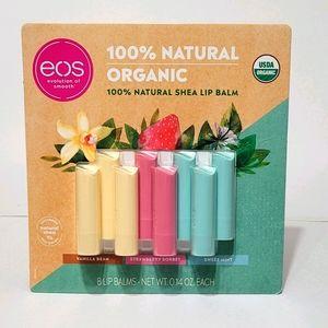 NWT EOS 8 Pack 100% Natural Organic Shea Lip Balms